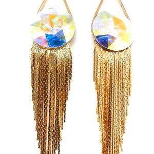 GASOLINE GLAMOUR Jewelry - THUNDERBIRD MOONOPAL ROUND GOLD FRINGE EARRINGS NW